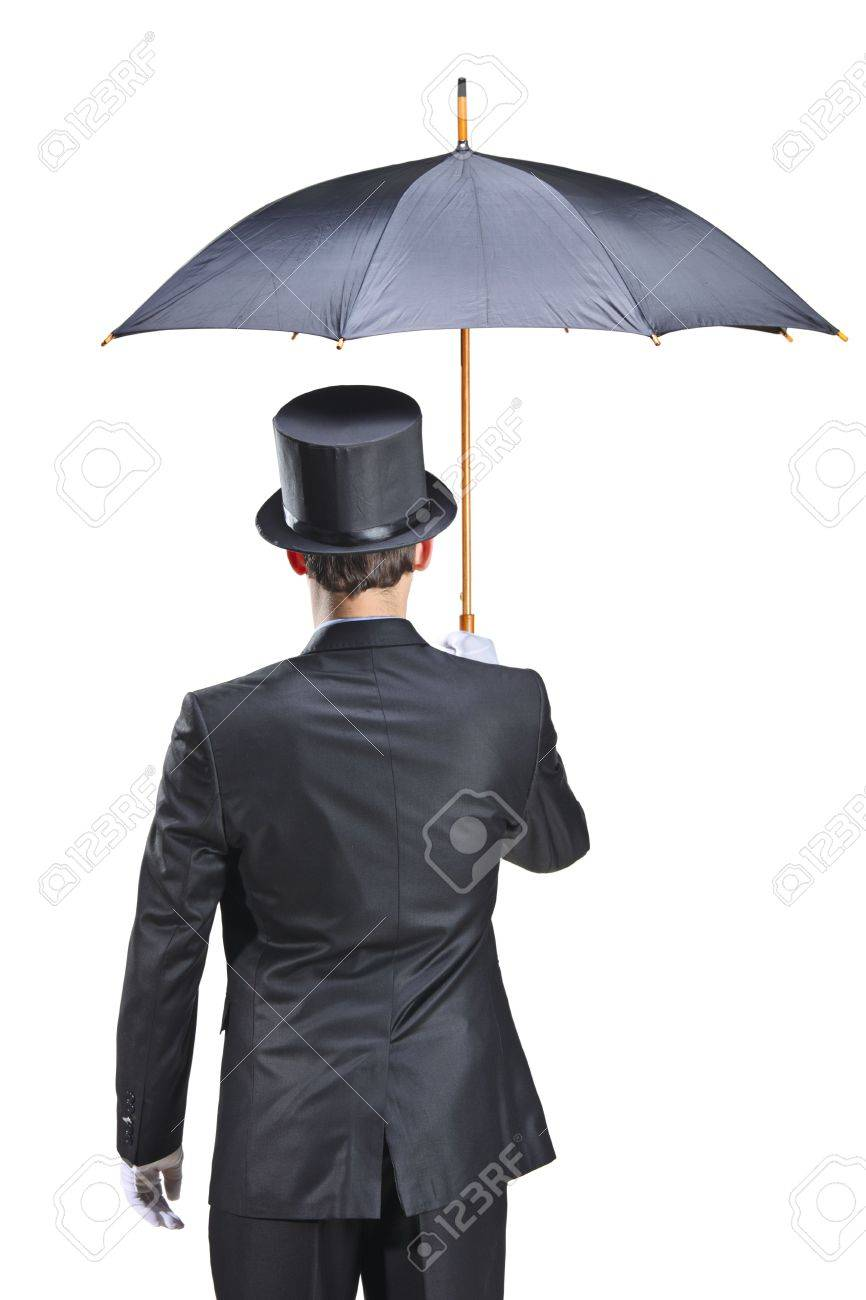 Young man with gloves holding an umbrella isolated on white background Stock Photo - 5915205