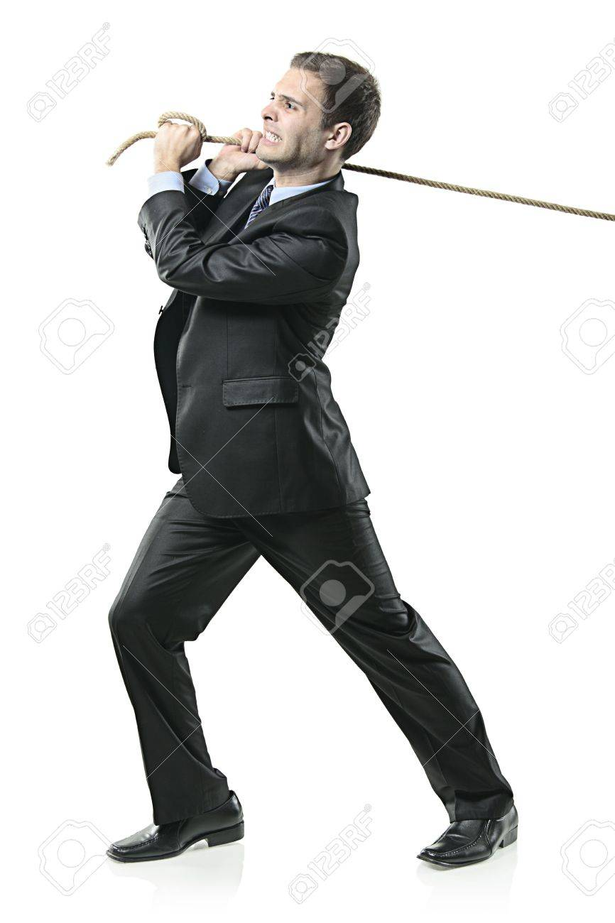 Businessman pulling a rope isolated on white background Stock Photo - 6057944