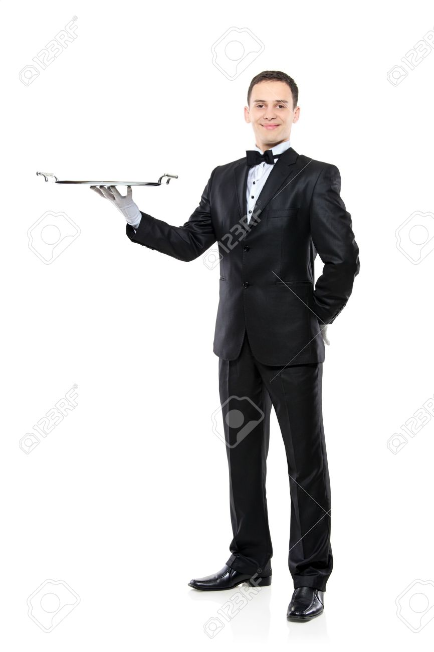 Young person in a suit holding an empty tray isolated on white background - 6269307