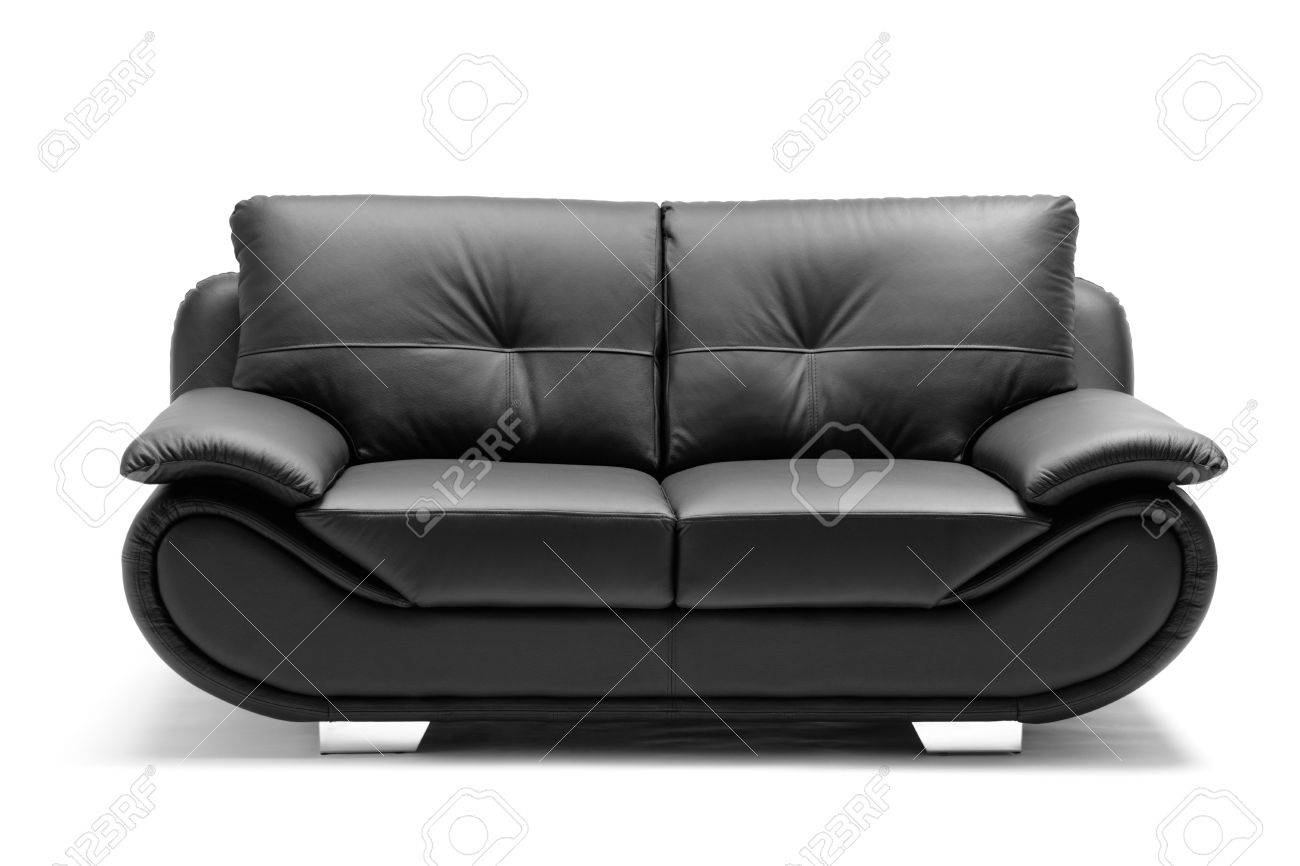 A View Of A Modern Leather Sofa Isolated On White Background Stock