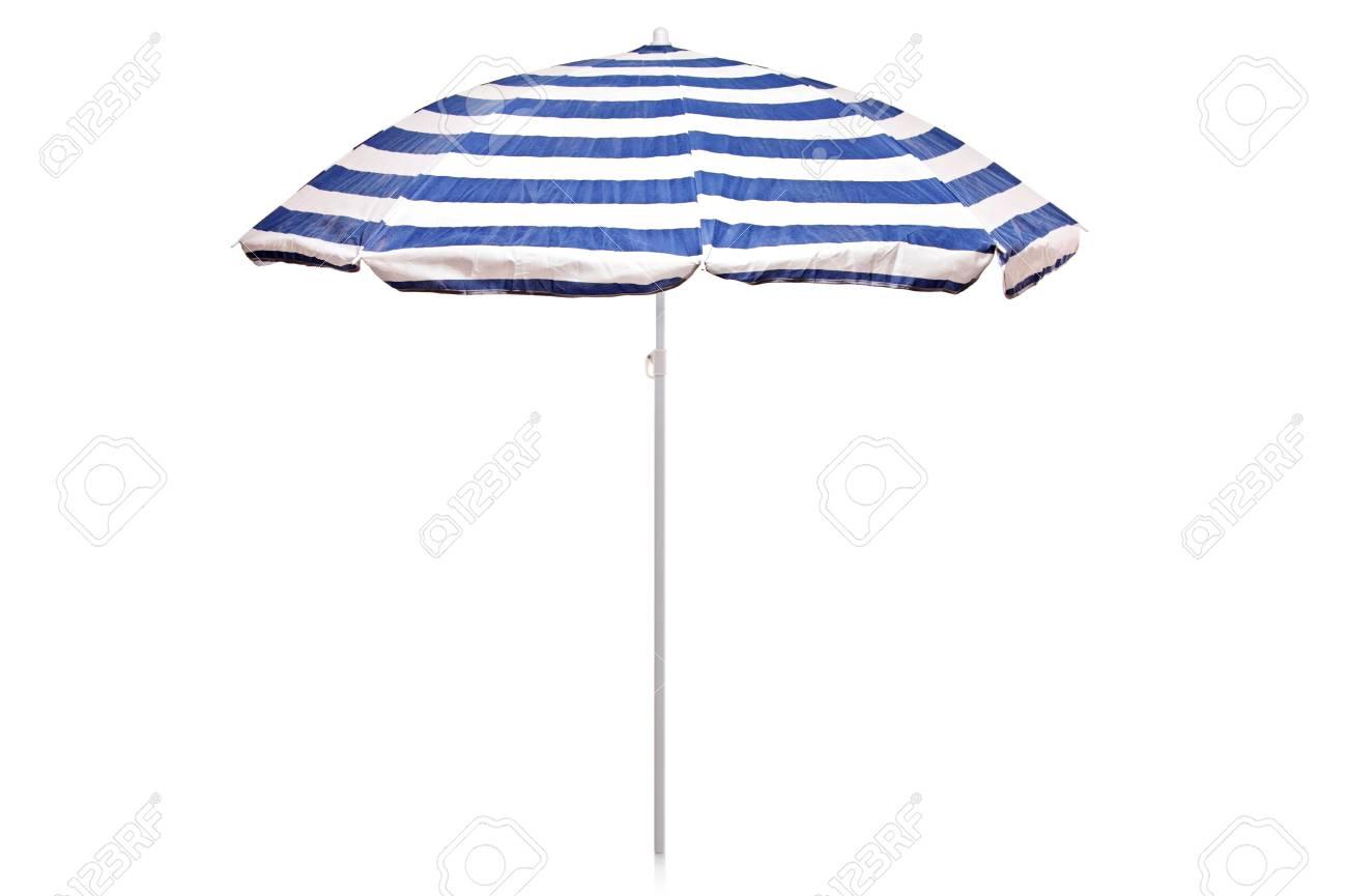 Blue and white striped umbrella isolated on white background Stock Photo - 7563100