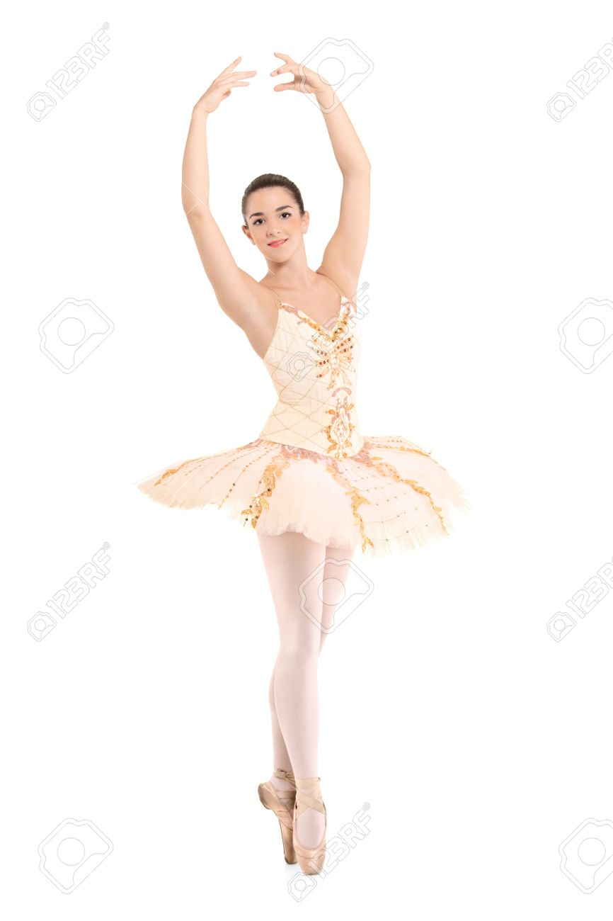 hot sales 56535 5e797 A beautiful ballerina dancer making a ballet posing against white..