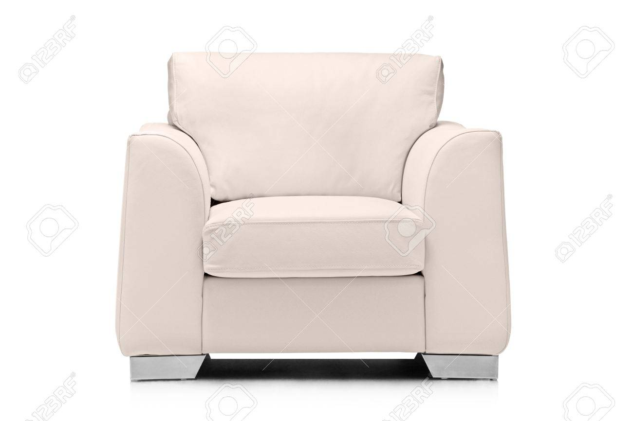 photo a studio shot of a leather white armchair isolated on white background