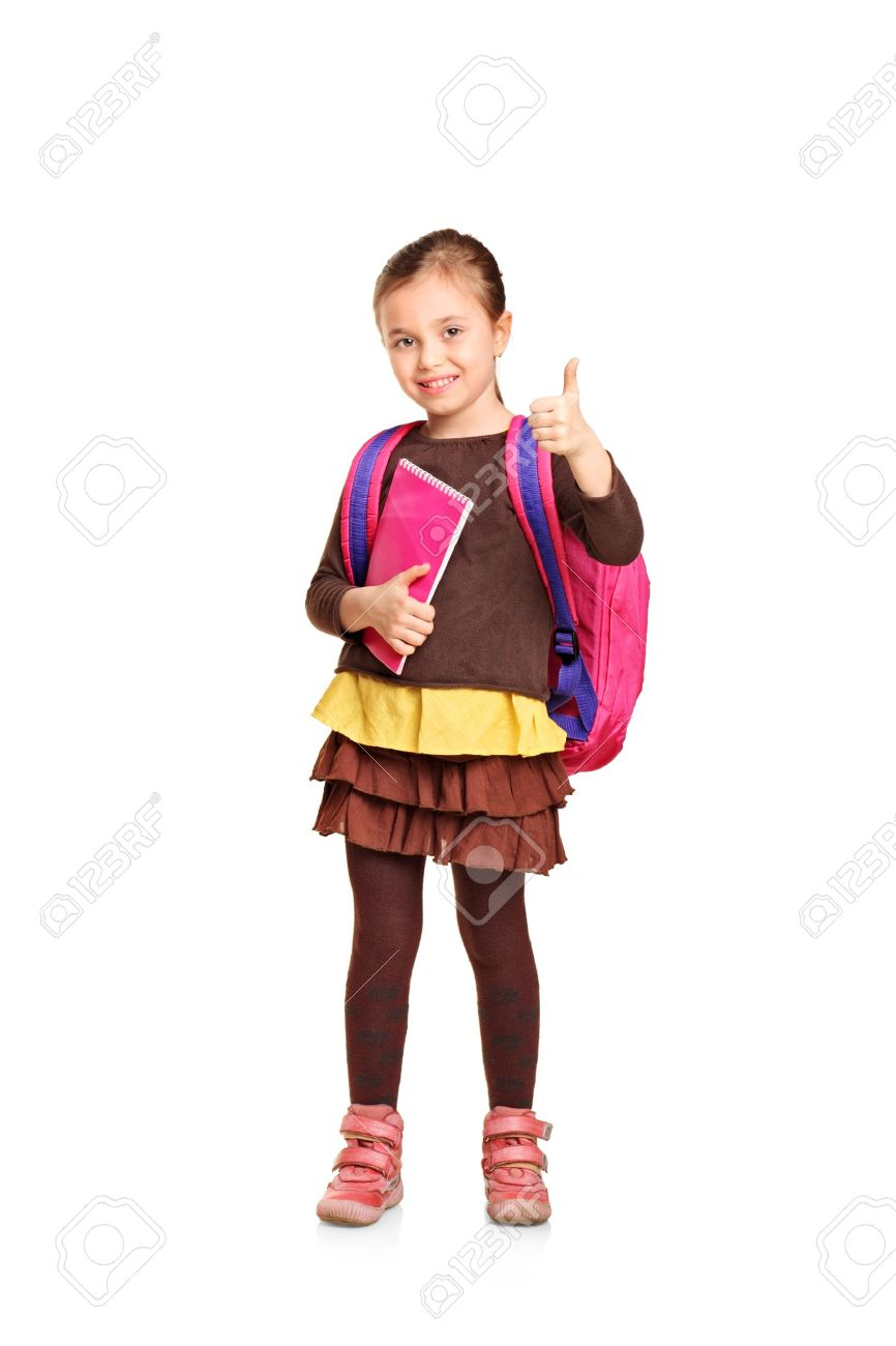 48f008e54a26 Full length portrait of a school girl with backpack holding book and  showing thumb up isolated