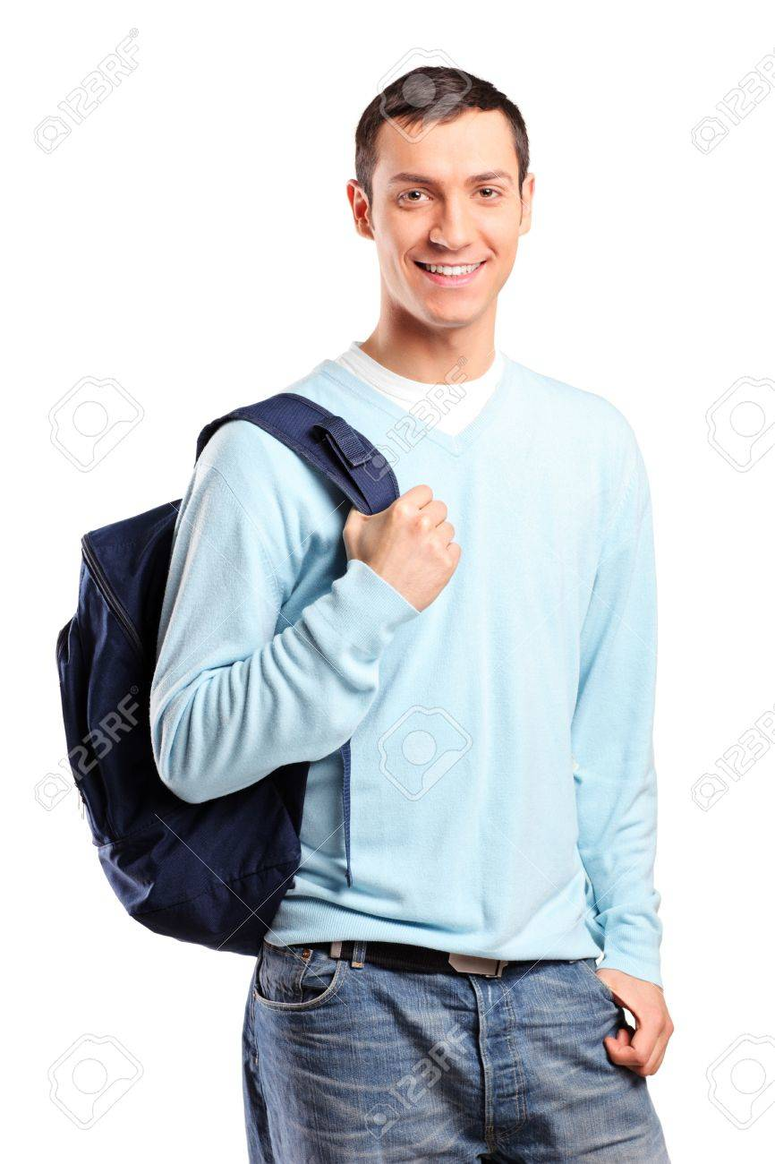 A portrait of a male student with a school bag isolated on white background Stock Photo - 9094240