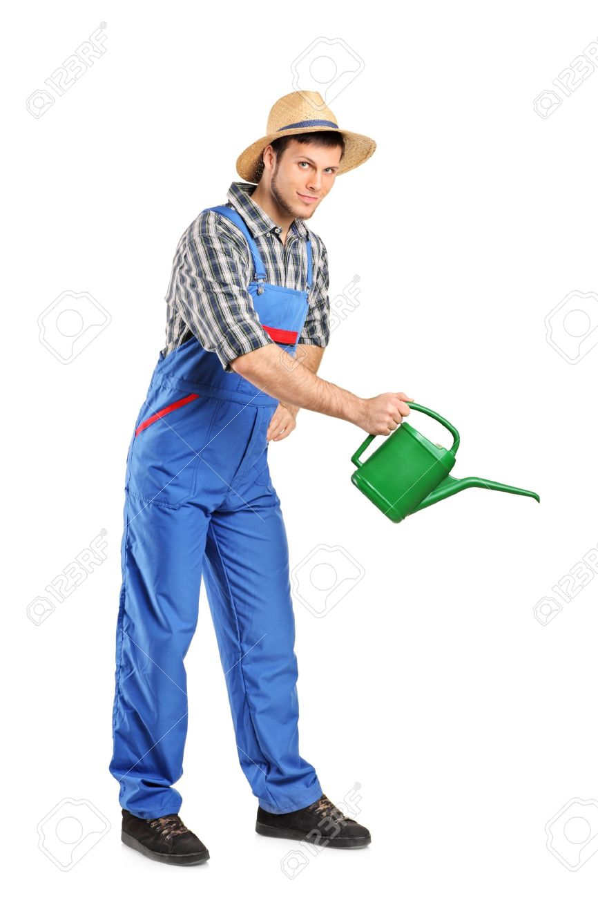 full length portrait of a person with holding a watering can