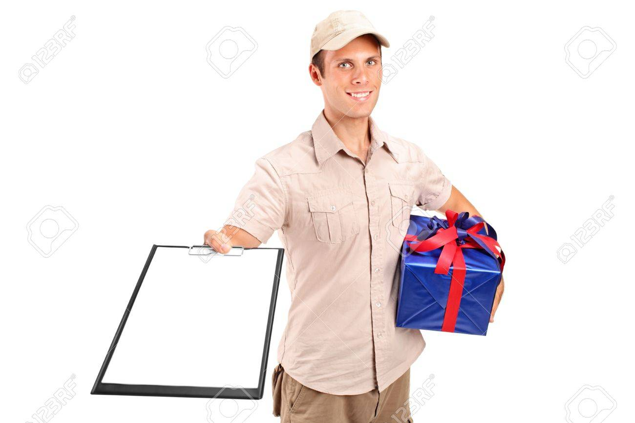 Delivery Person Delivering A Gift And Holding A Clipboard Isolated ...