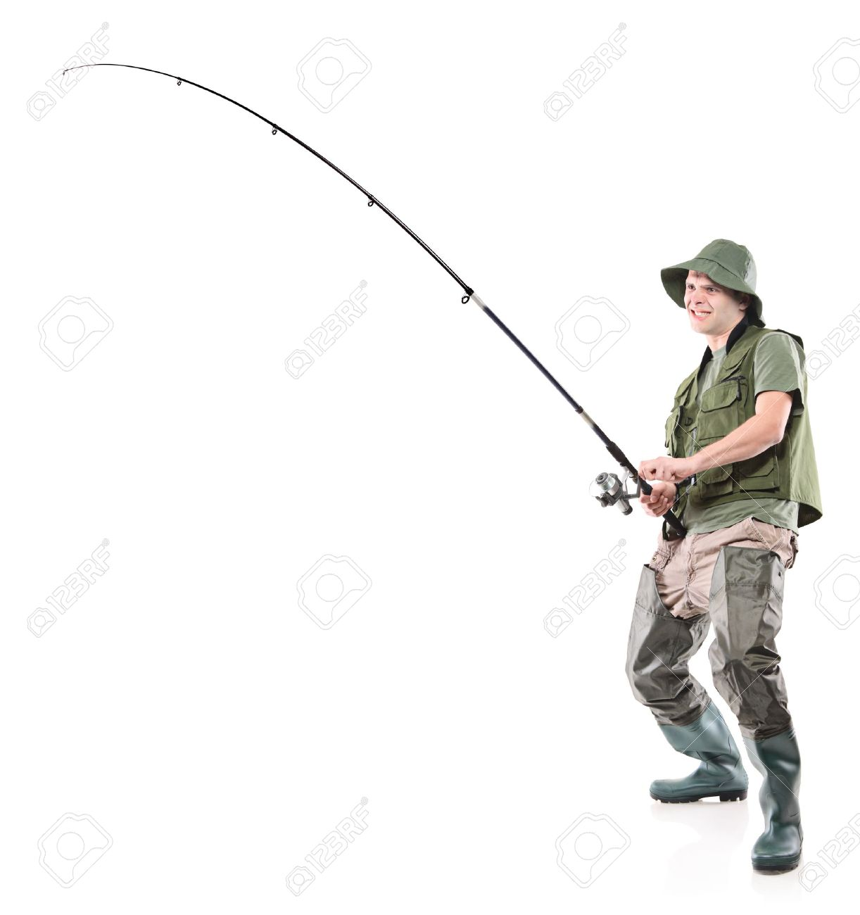 Full length portrait of a fisherman holding a fishing pole isolated on white background - 10765248
