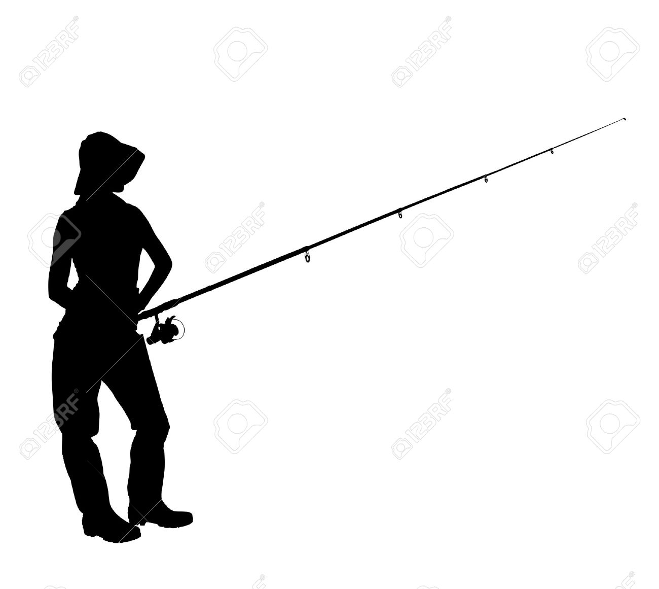 A silhouette of a fisherwoman holding a fishing pole isolated on white background Stock Photo - 10765221
