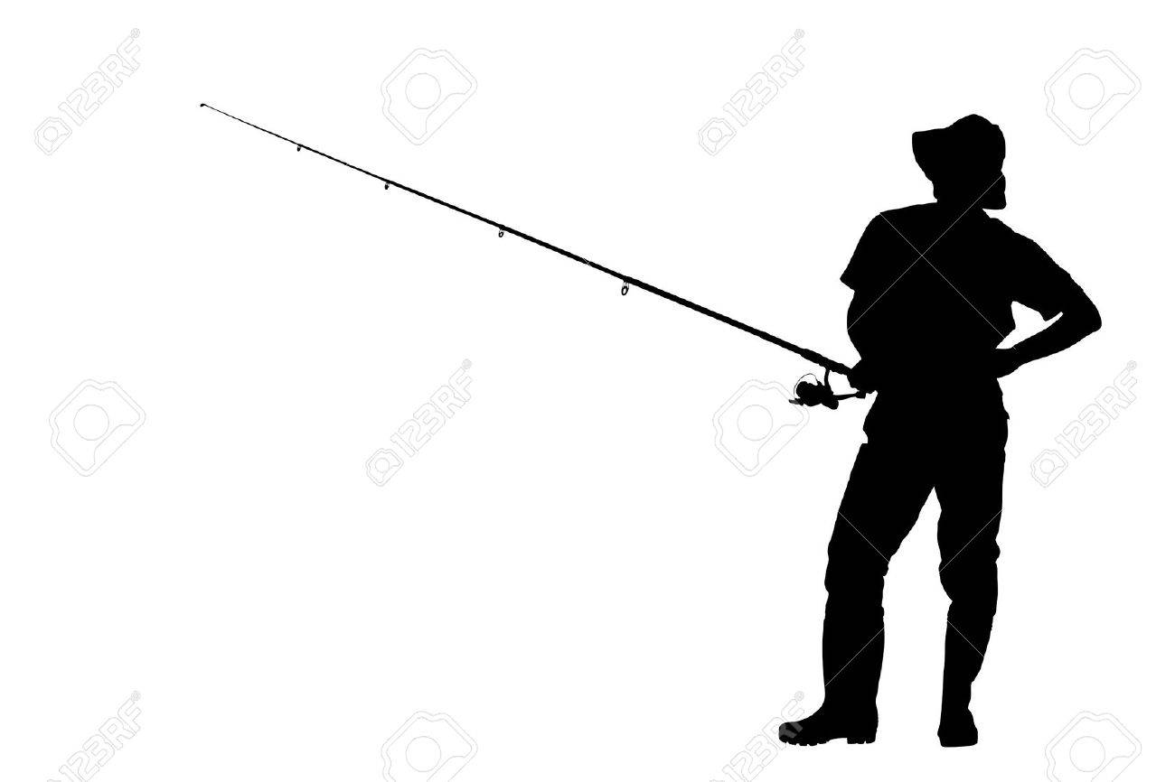 A silhouette of a fisherman holding a fishing pole isolated against white background Stock Photo - 10765216