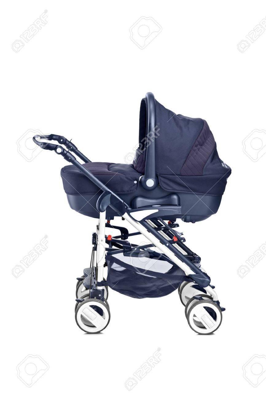 a studio shot of a modern baby stroller isolated against white  - a studio shot of a modern baby stroller isolated against white backgroundstock photo