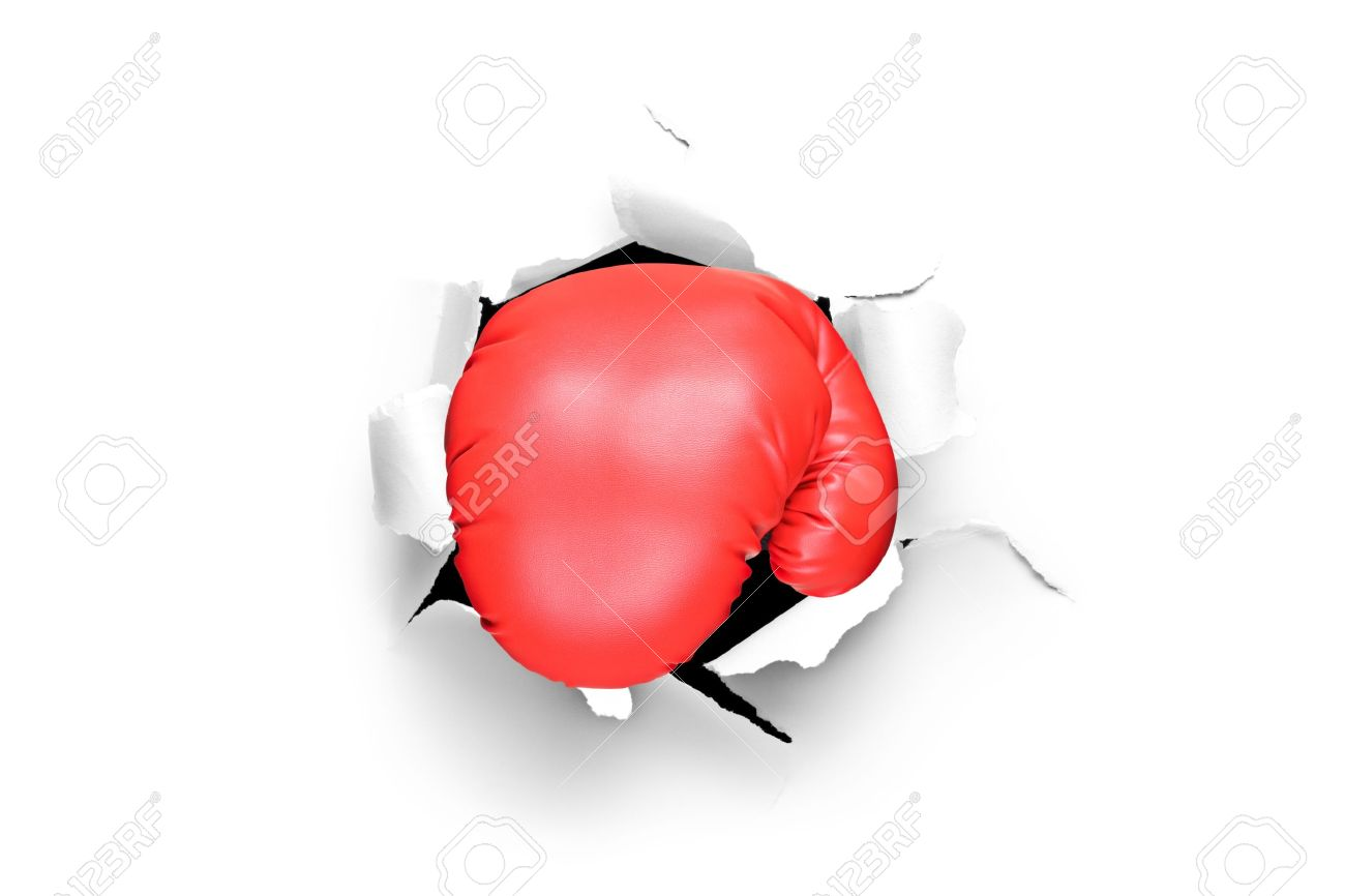 A view of a boxing glove A Boxer Punches A Sheet Of Paper
