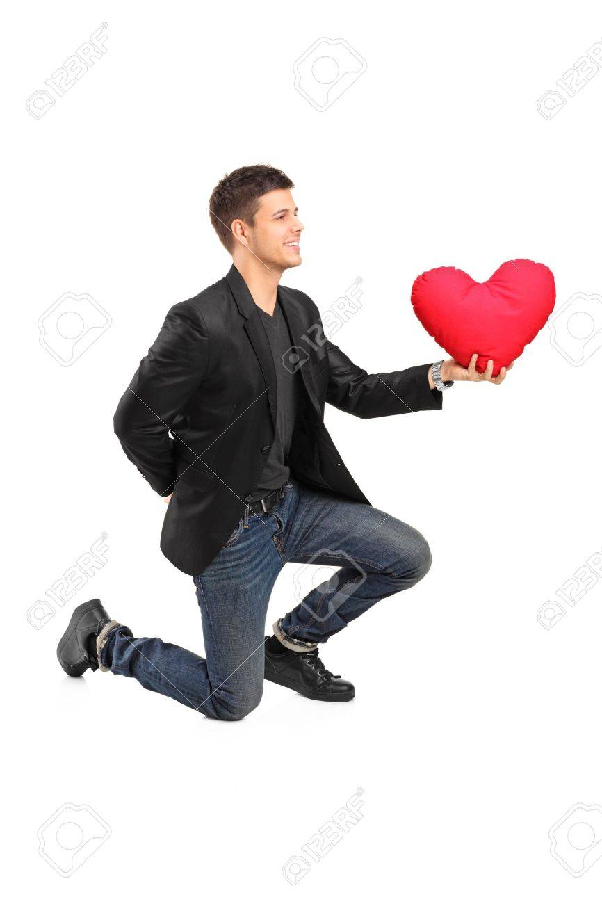 Man Shaped Pillow A Romantic Man On His Knees Practicing A Proposal And Holding