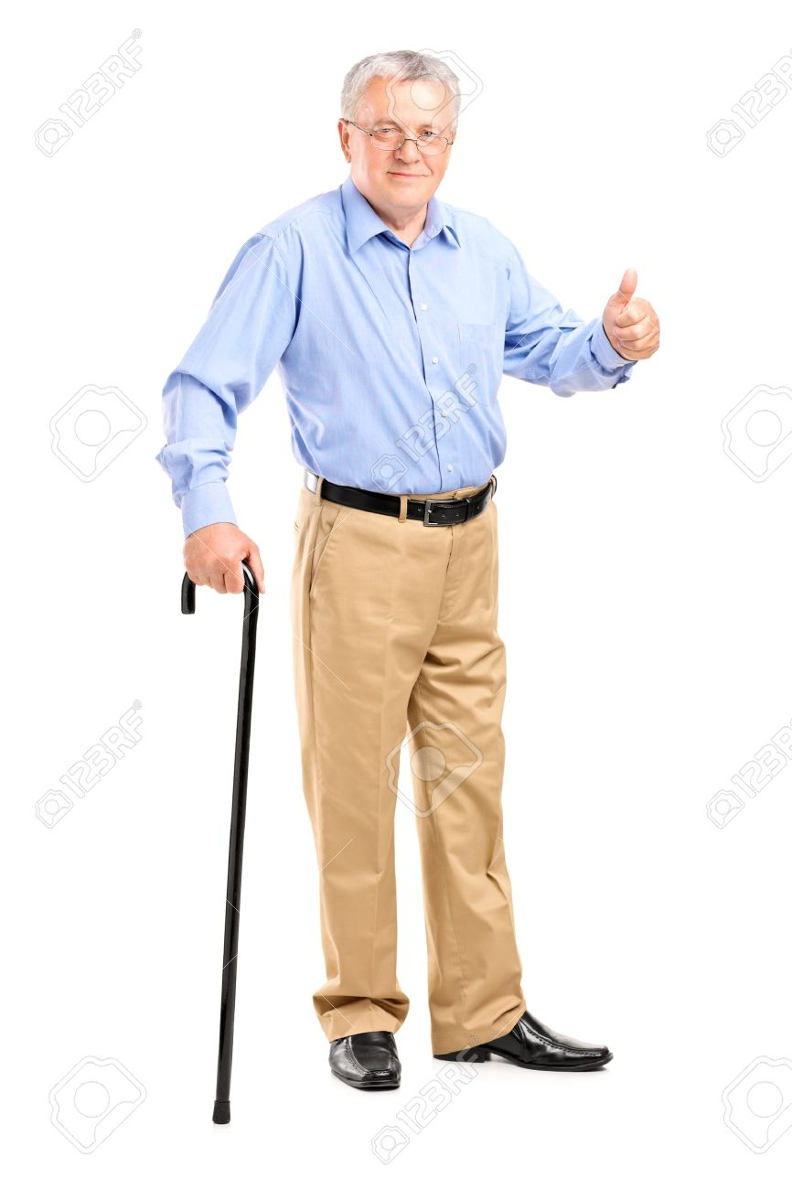 Full length portrait of a senior man holding a cane and giving thumb up isolated on white background Stock Photo - 14257257
