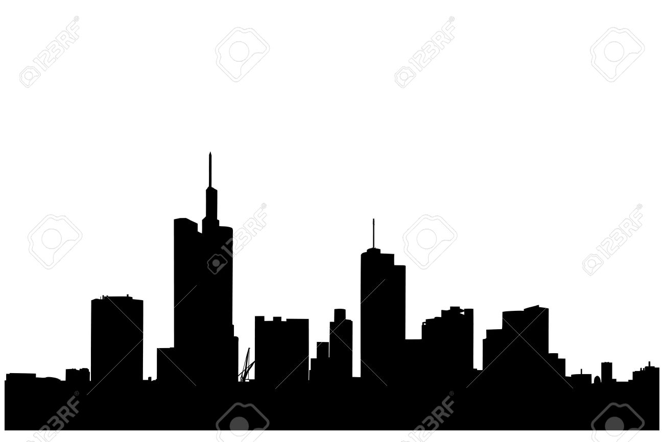 A silhouette of a buildings in the financial centre in Frankfurt, Germany Stock Vector - 14398967