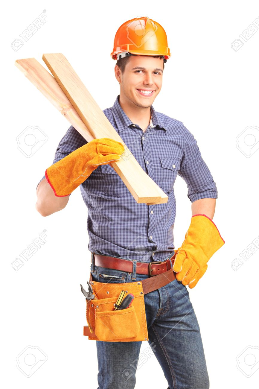 a smiling male carpenter holding sills isolated on white