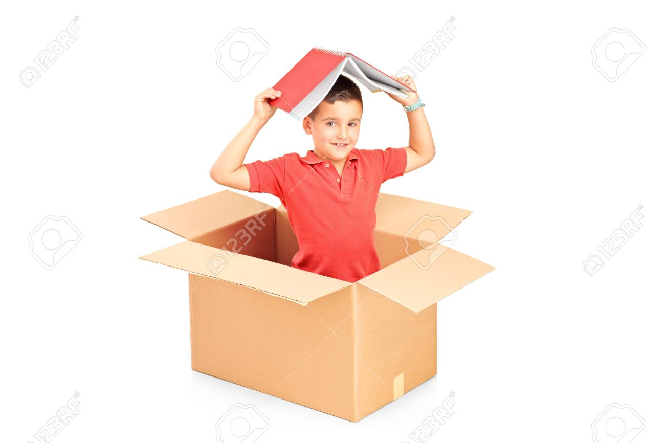 A child in a cardbox holding a book over his head isolated on white background Stock Photo - 14615217