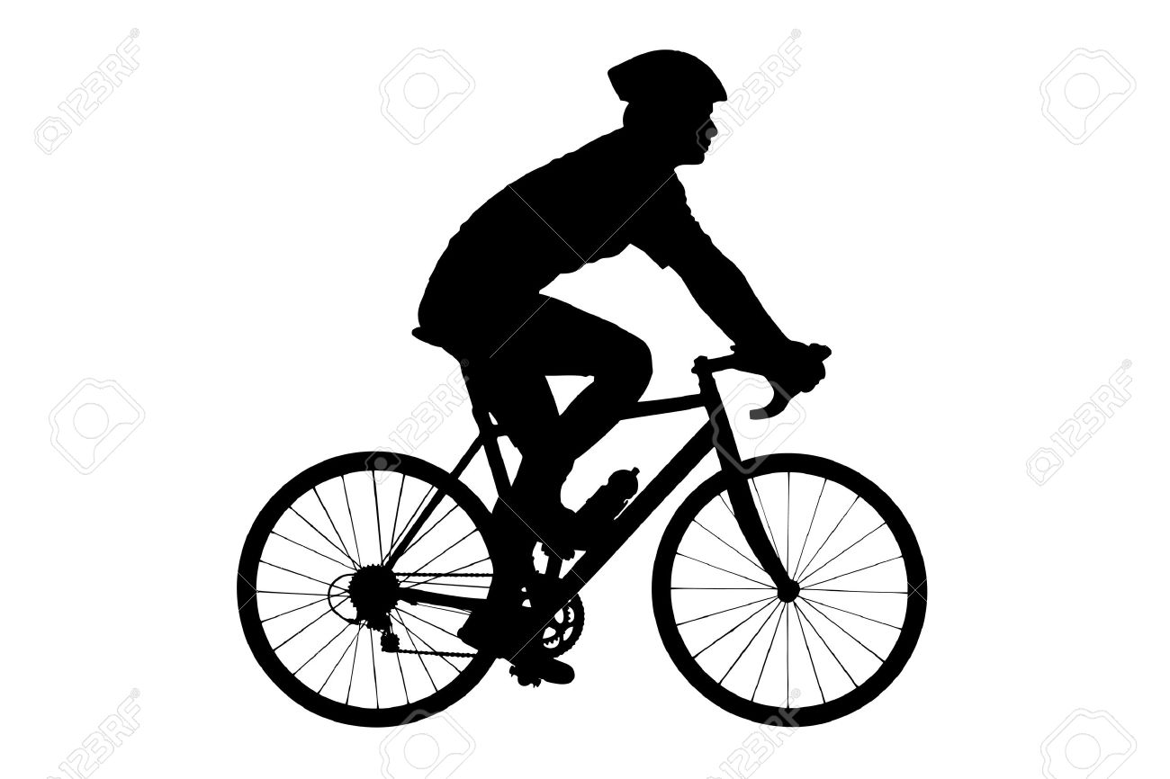 A silhouette of a male biker with helmet biking isolated against white background - 14615251