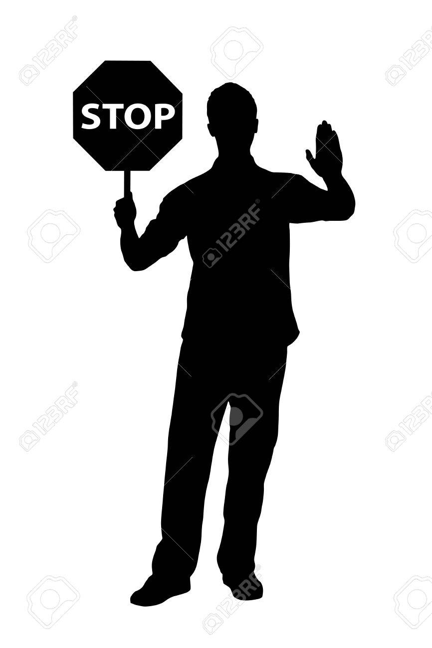 A silhouette of a full length portrait of a man gesturing and holding a traffic sign stop isolated on white background Stock Vector - 14615248