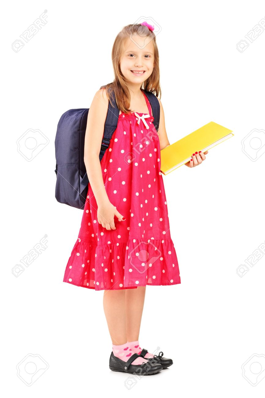 93d23884c32c Full Length Portrait Of A School Girl Holding Notebook