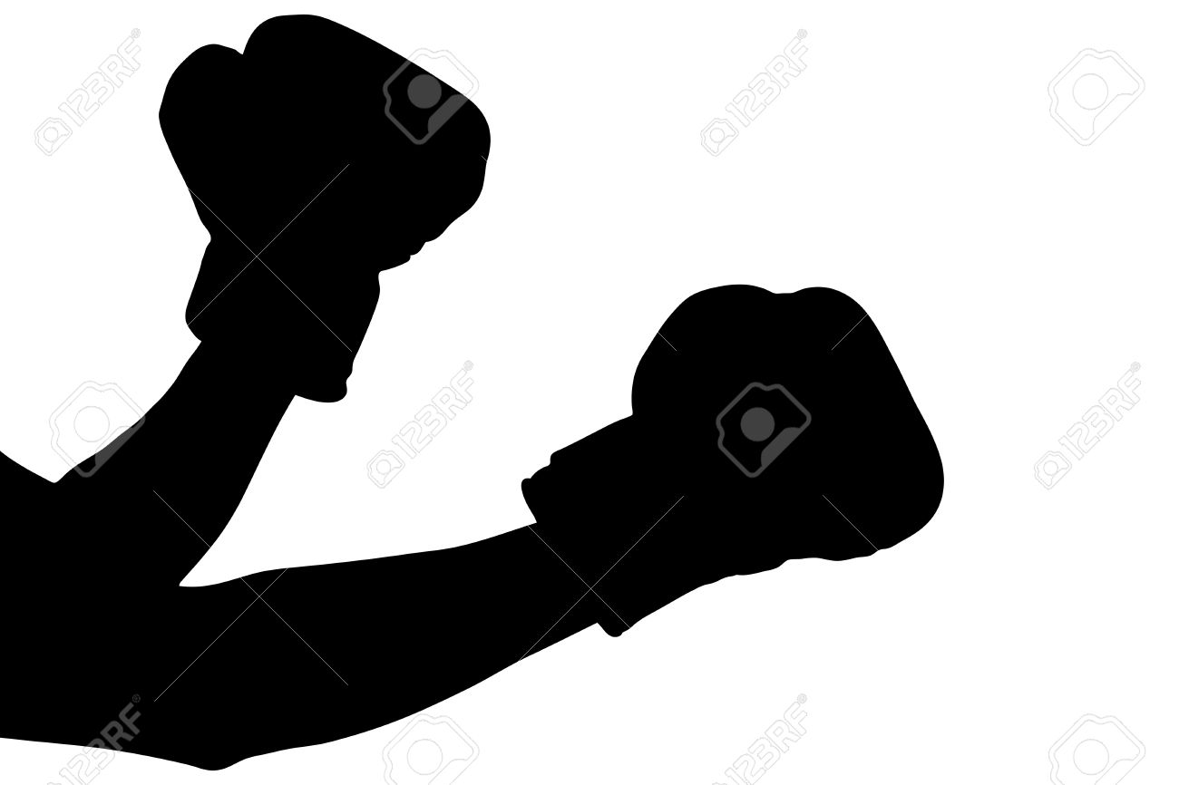 a silhouette of a boxing gloves isolated on white background stock