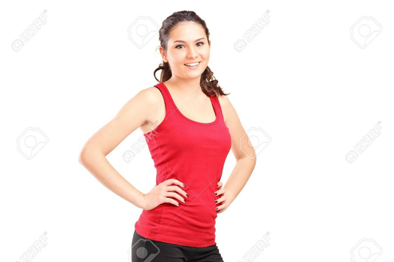 A young athletic girl posing isolated on white background Stock Photo - 16639725
