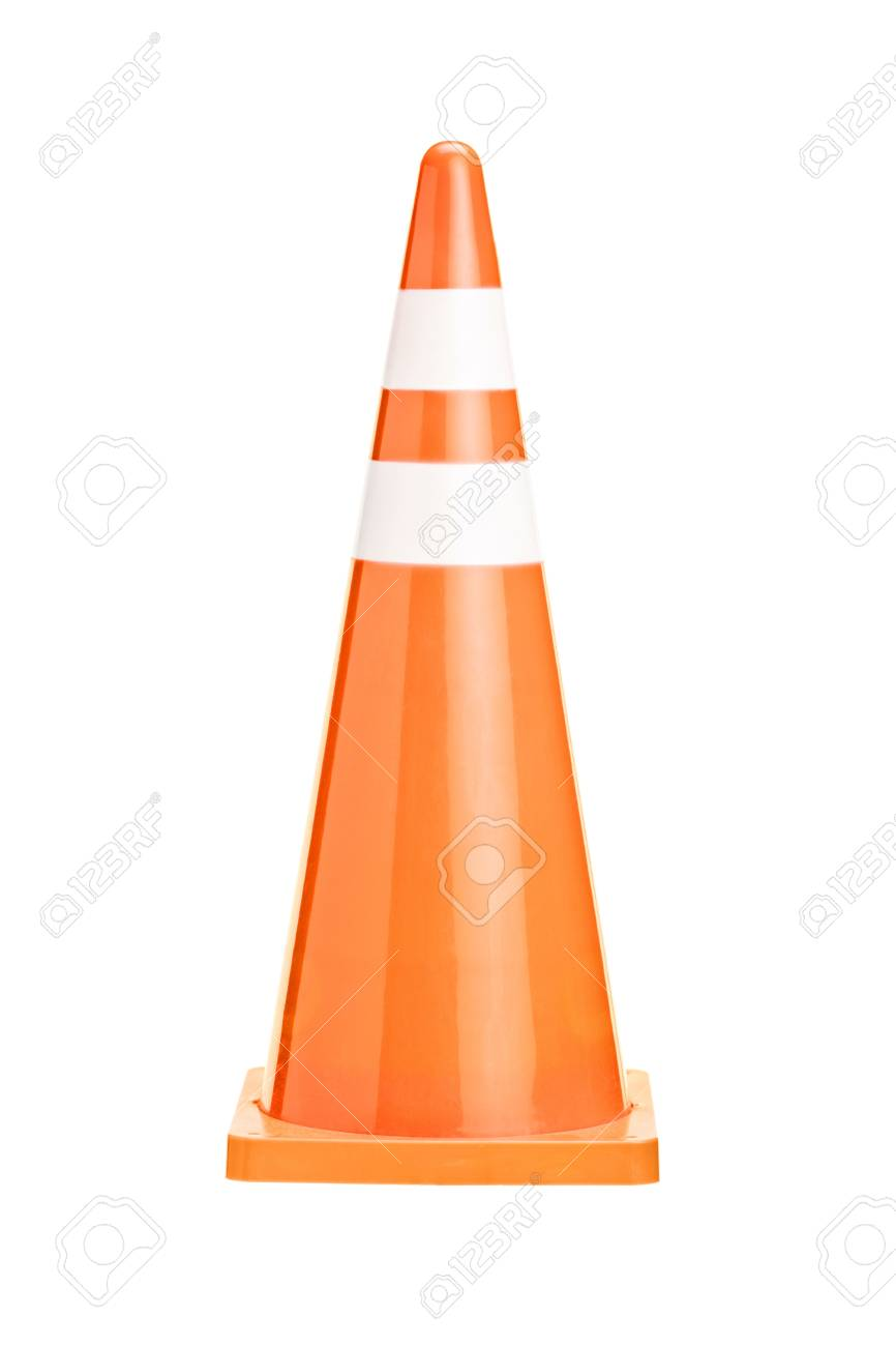 A studio shot of an orange construction cone isolated against white background Stock Photo - 16795768