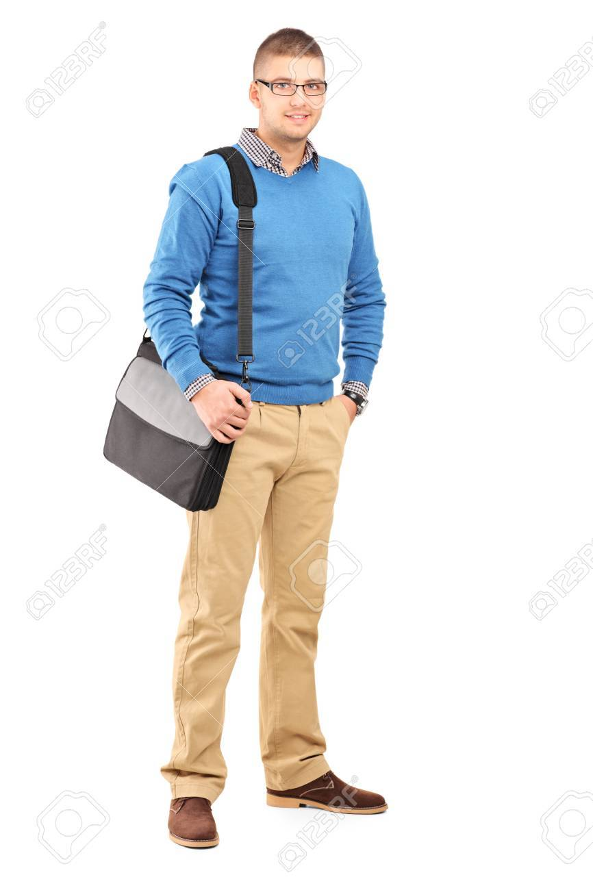 Full length portrait of a young man with a shoulder bag isolated on white background Stock Photo - 17293636
