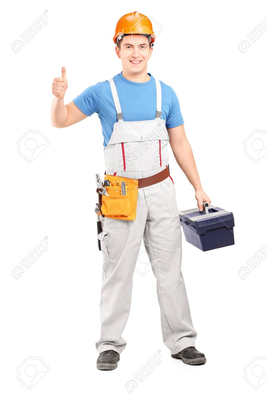 Full length portrait of a manual worker holding a tool box and giving a thumb up isolated on white background Stock Photo - 17482959