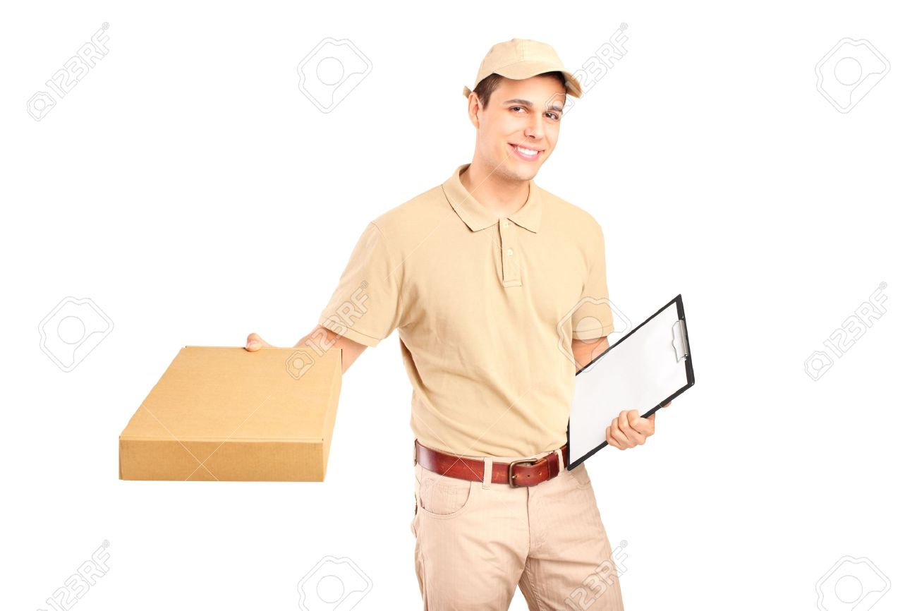 A Delivery Person Delivering A Packet And Holding A Clipboard ...
