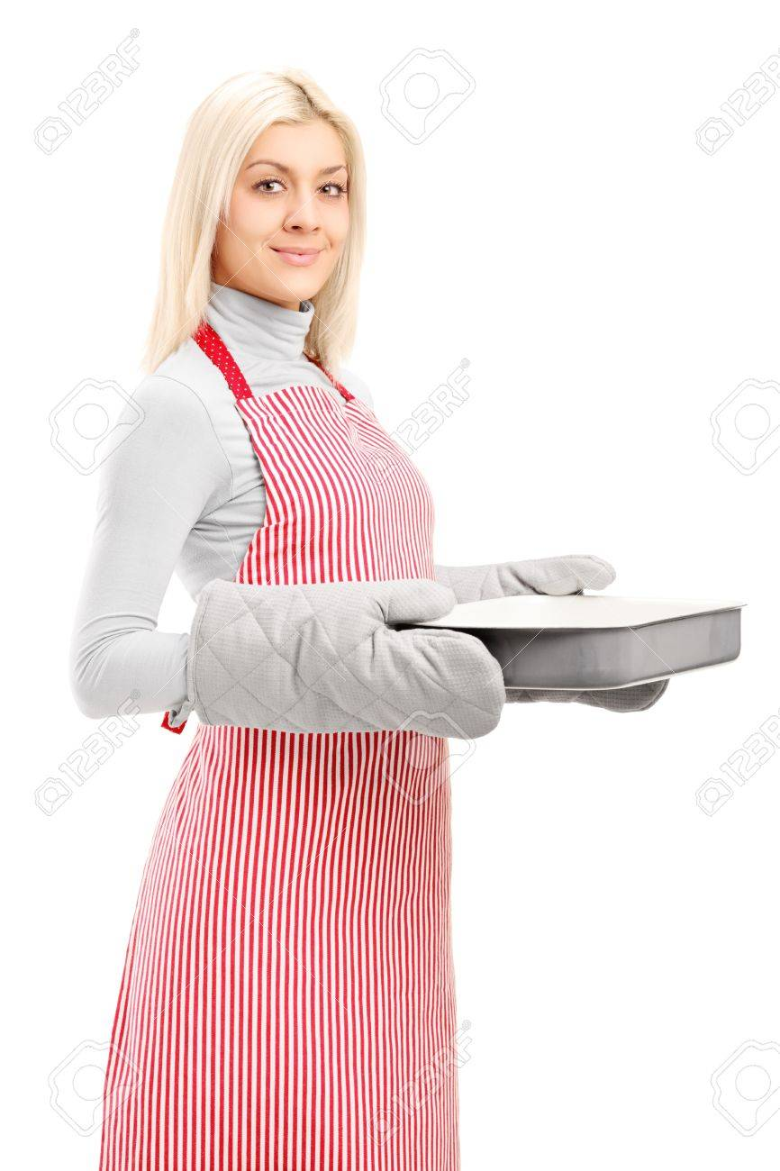 White gloves apron cleaning services - Woman Apron Gloves Young Woman Wearing Cooking Mittens And Apron Holding A Baking Tray Isolated