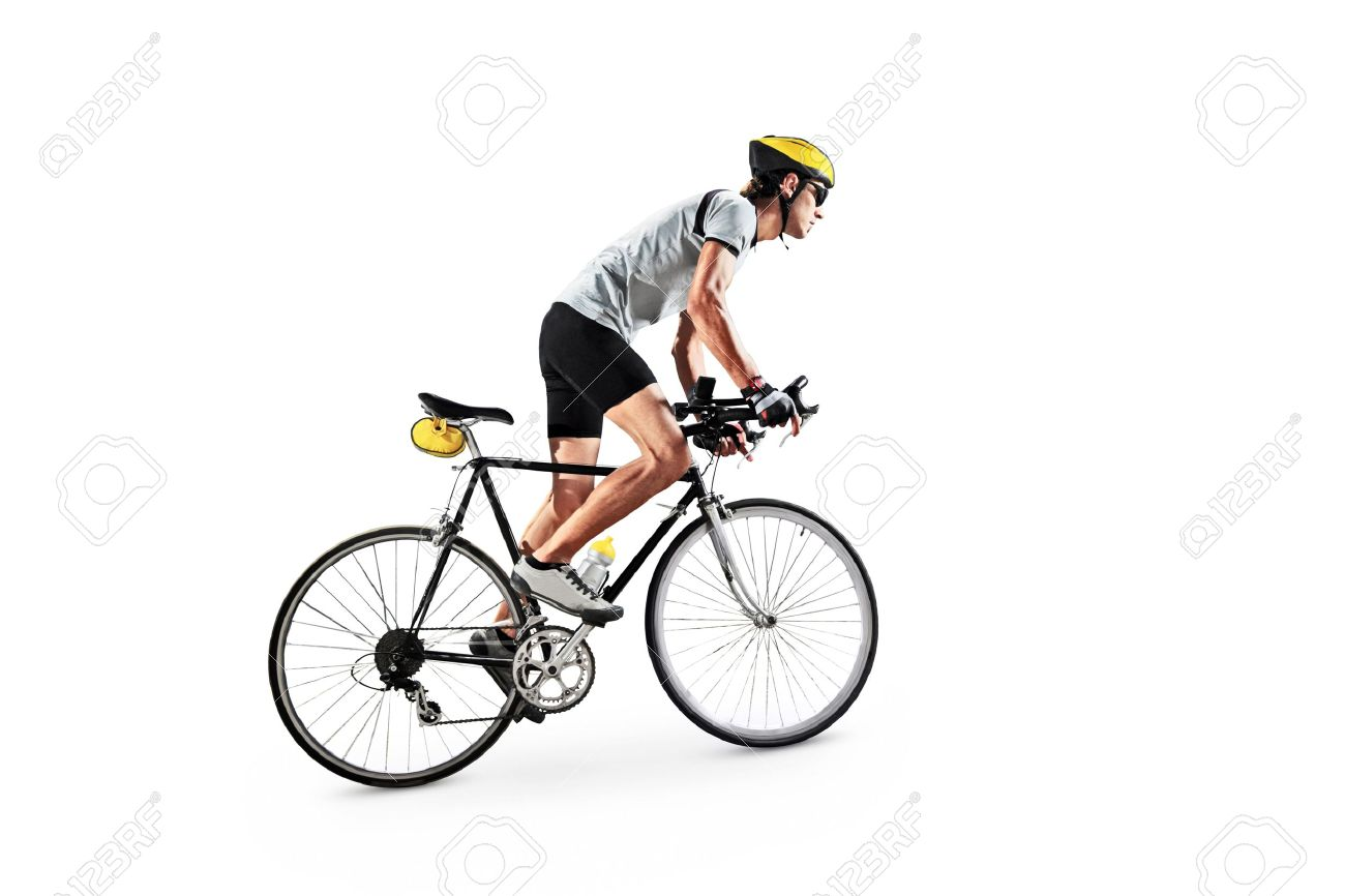 A male bicyclist riding a bike isolated on white background Stock Photo - 17784818