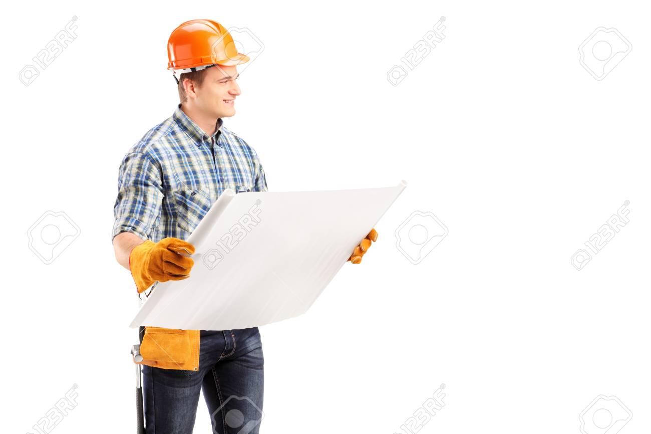 b869af8981e1 Banque d images - Ingénieur Homme avec casque et ceinture porte-outils de  modèle, isolé sur fond blanc