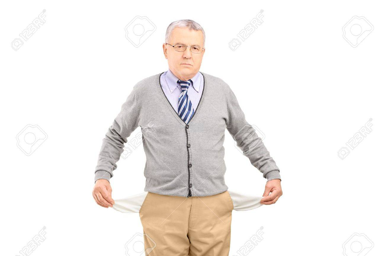 Senior man with empty pockets, isolated on white background Stock Photo - 18882126