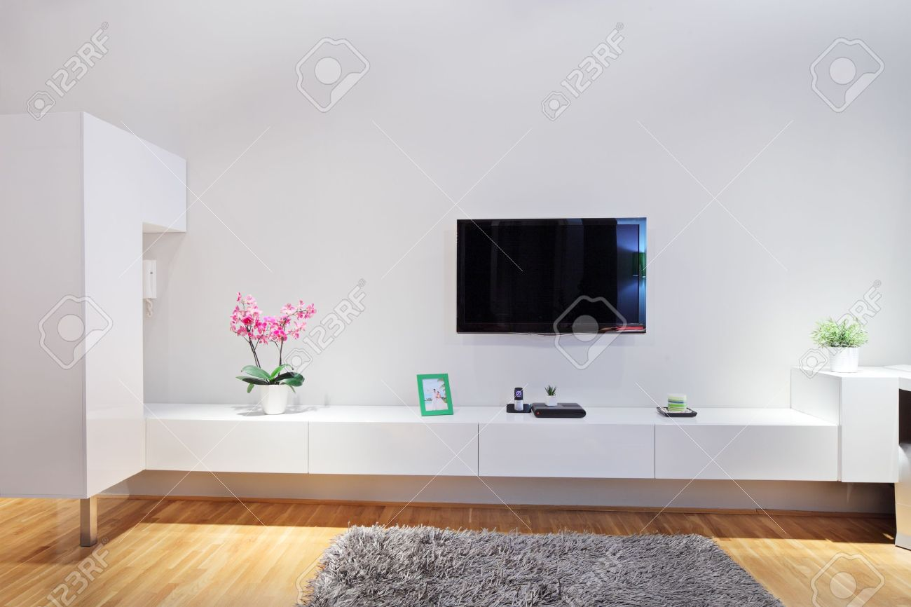 Shot Of A Modern Minimal Living Room Stock Photo, Picture And ...