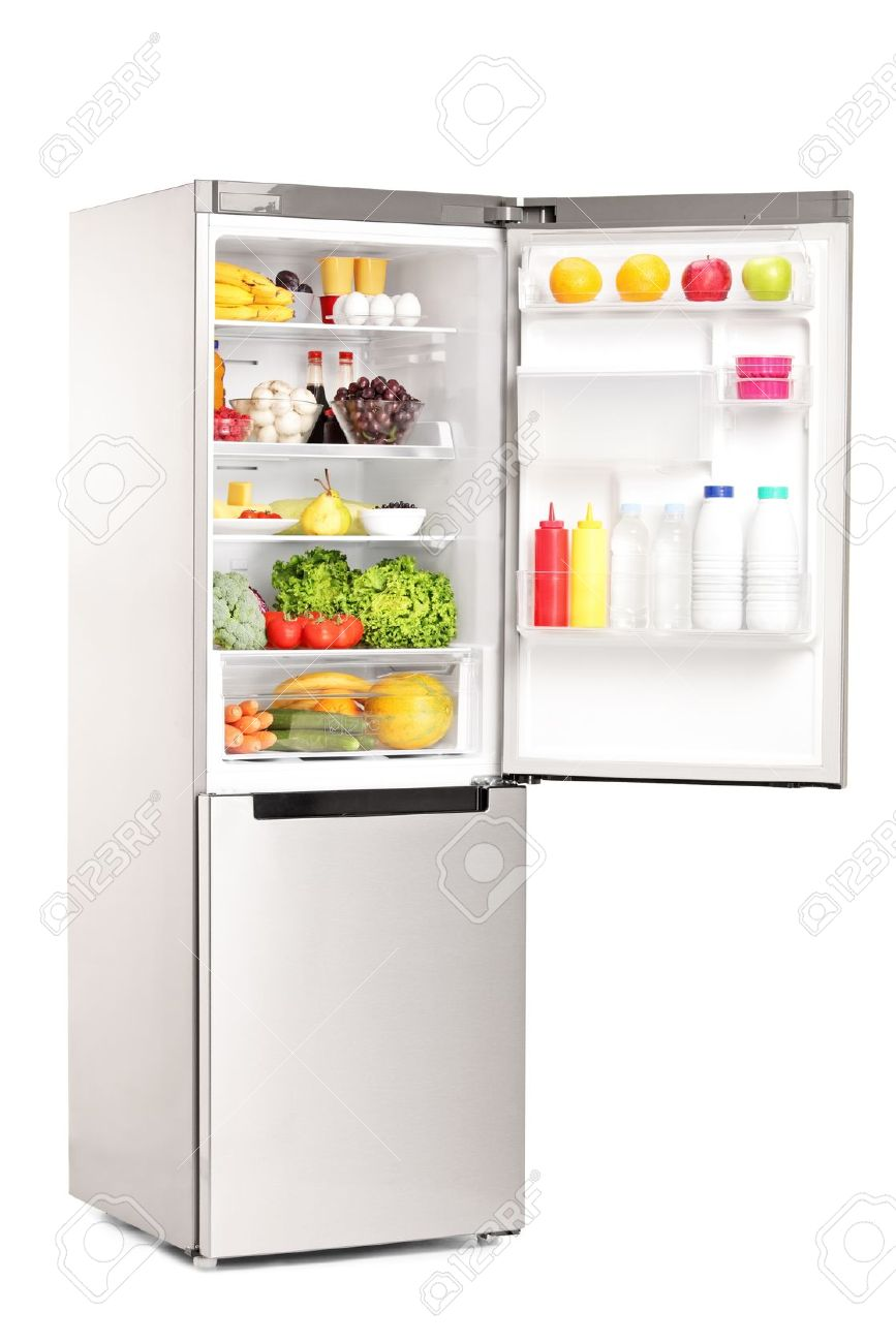 open refrigerator. studio shot of an open fridge full healthy food products isolated against white background stock refrigerator