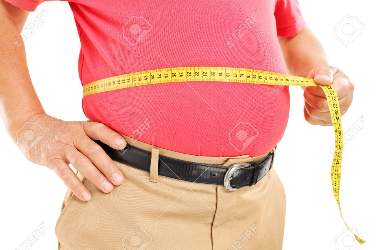 Fat mature man measuring his belly with measurement tape, isolated on white background - 22710640