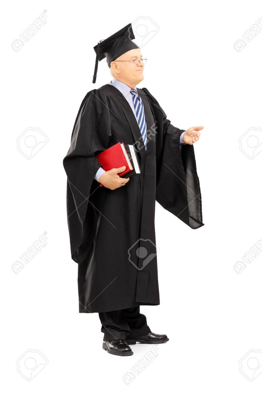 Full Length Portrait Of A College Professor In Graduation Gown ...