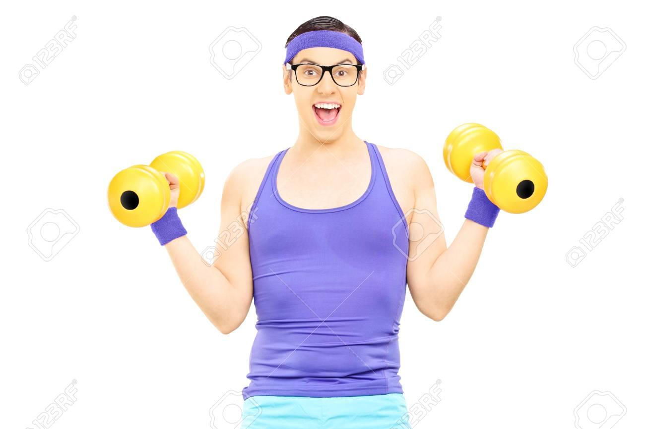 Guy with glasses exercising with dumbbells isolated on white background Stock Photo - 25567615