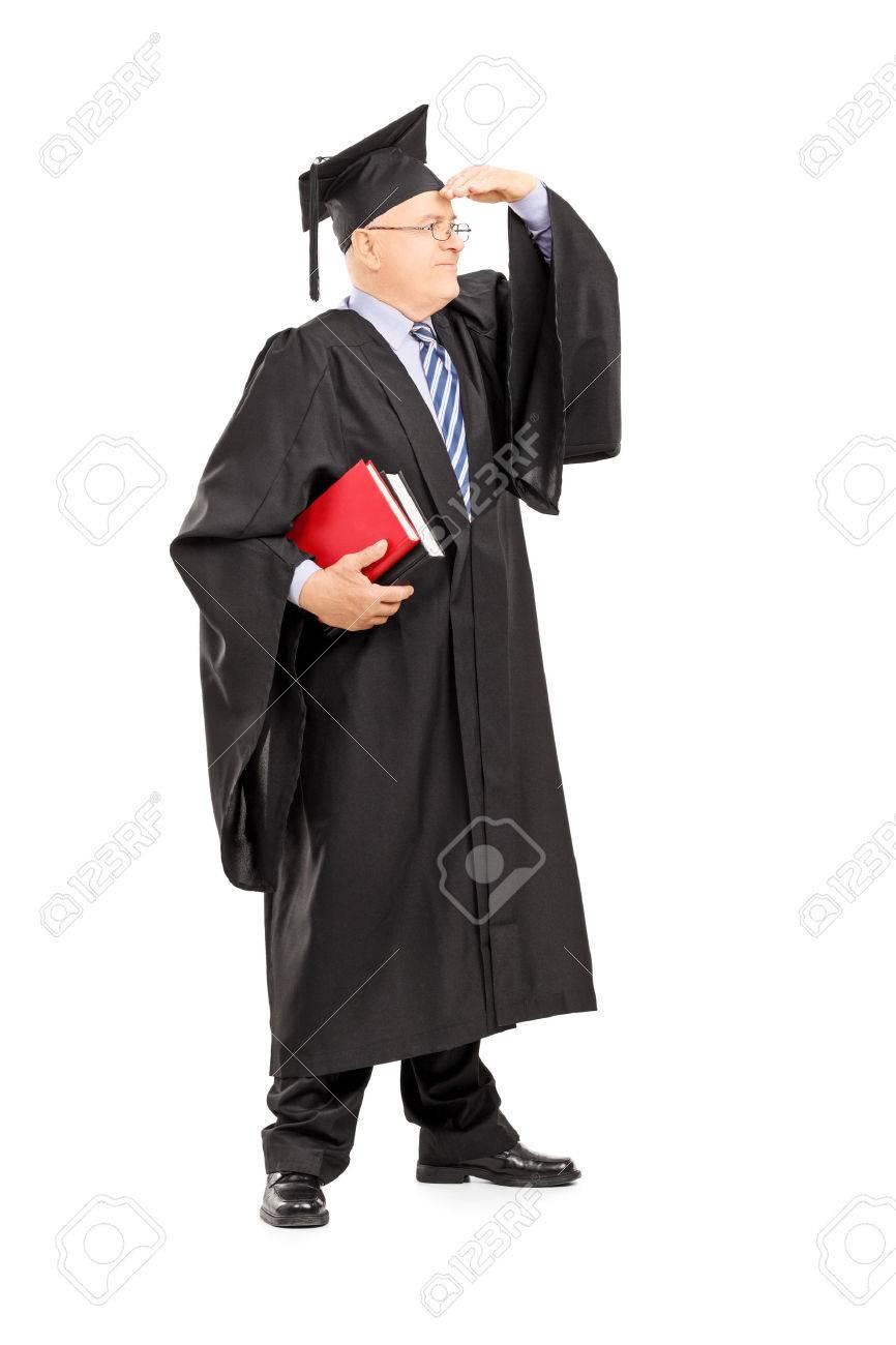 Full Length Portrait Of A Male College Professor In Graduation ...