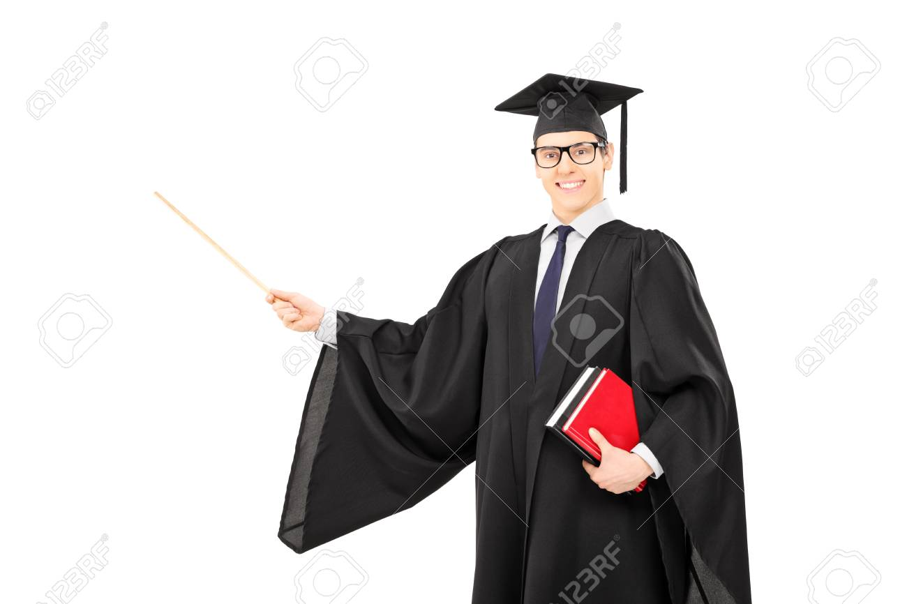 young male college graduate holding books and pointing with wooden