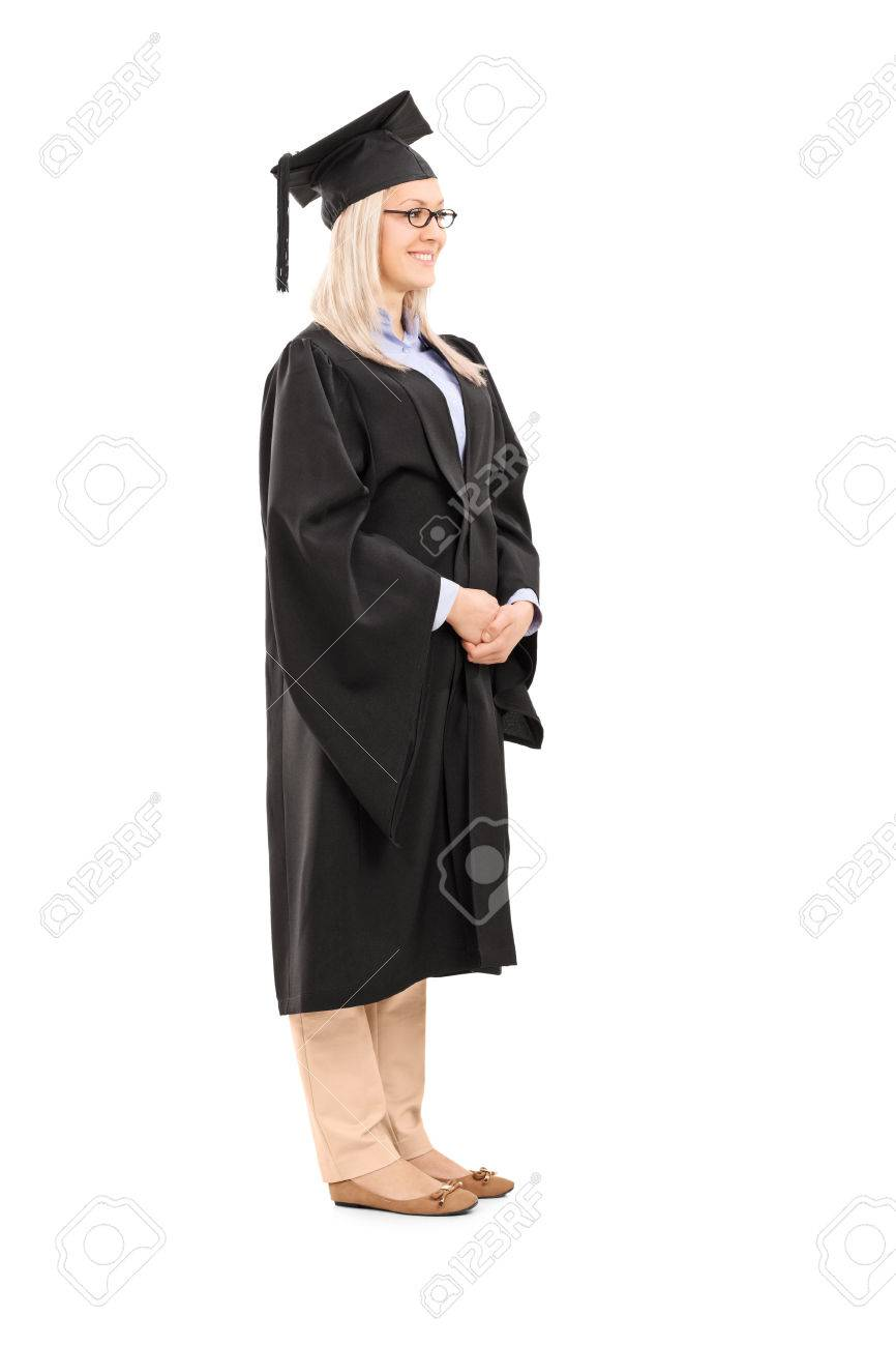 Full Length Portrait Of Young Woman In Graduation Gown Isolated ...
