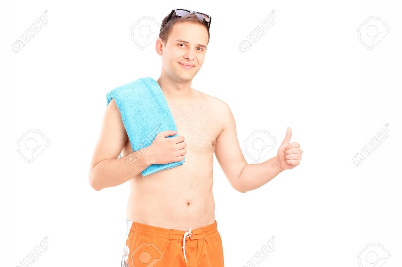 Costumi Da Bagno Bianco Uomo : L uomo in costume da bagno che dà pollice in su isolato su sfondo