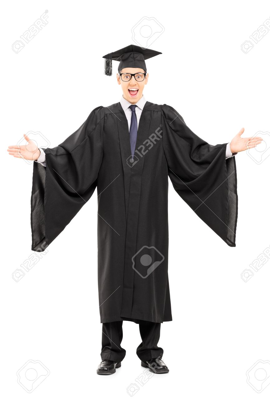 Full Length Portrait Of A Male Student In Graduation Gown ...