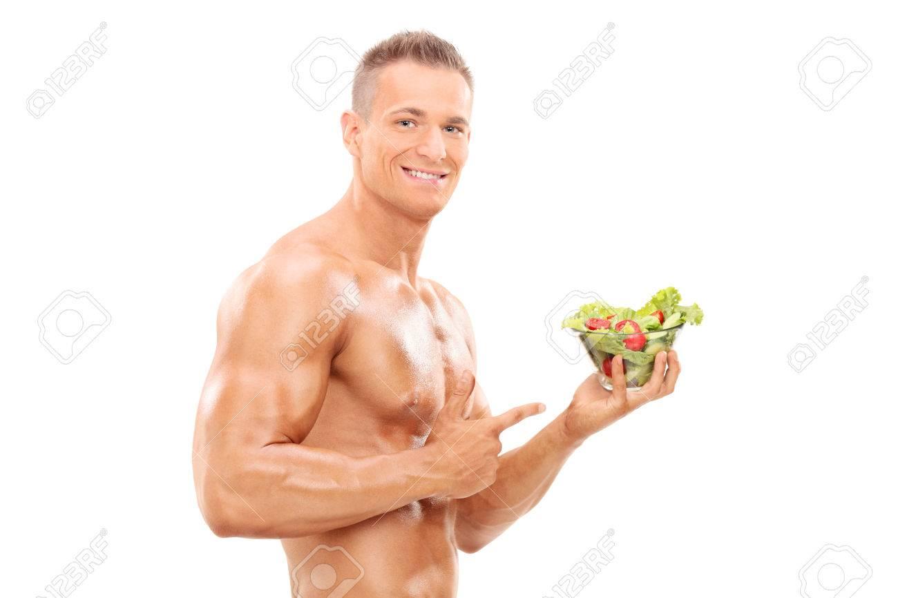 Nackter Oberkörper Mann Mit Einem Salat Und Zeigt Auf Sie Mit Dem ...