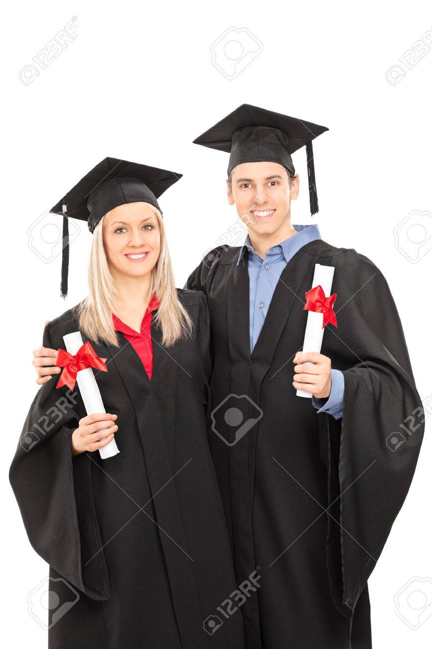 Man And Woman In Graduation Gowns Holding Diplomas Isolated On ...