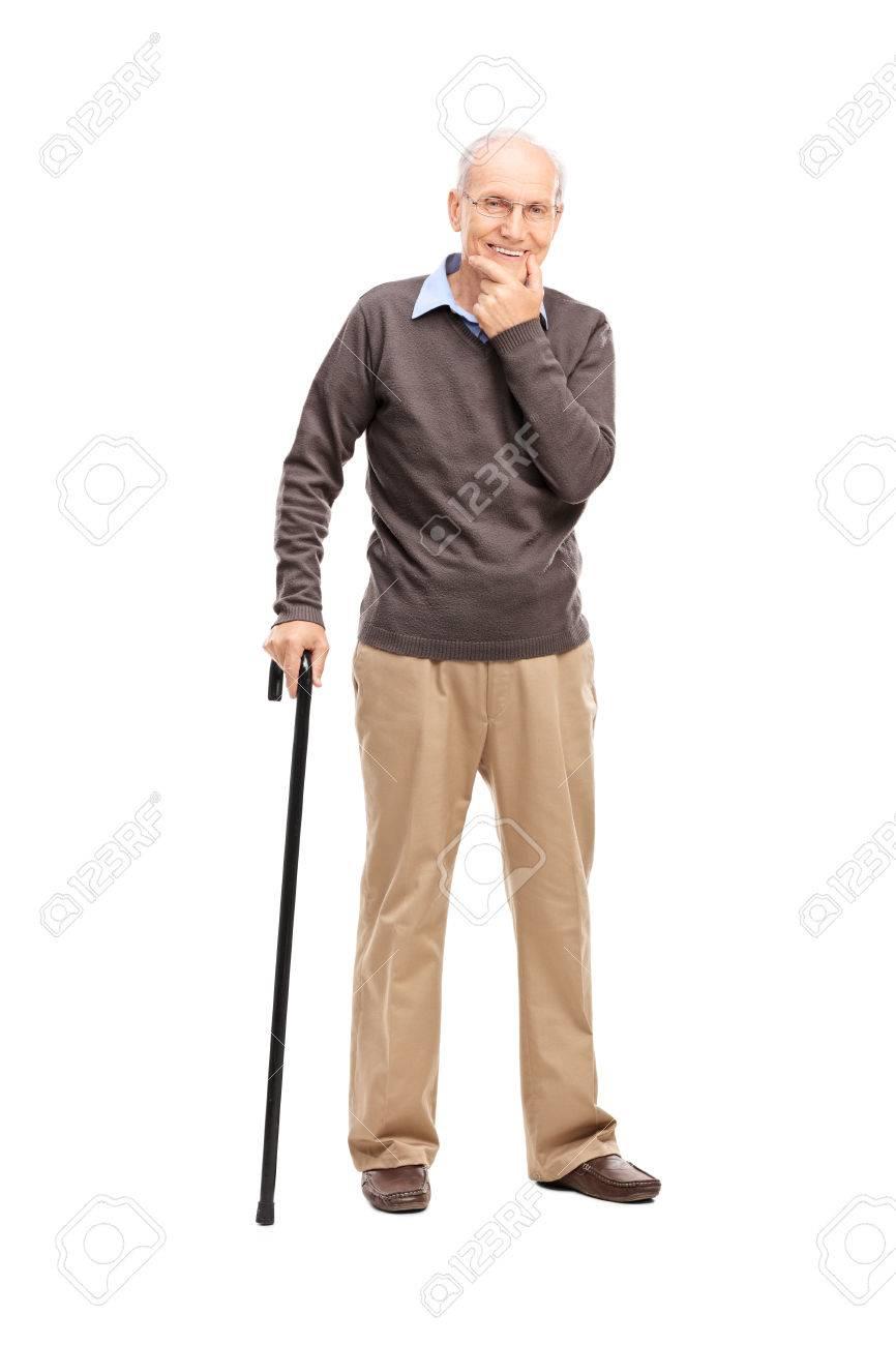 Retrato De Cuerpo Entero De Una Persona Mayor Casual Con Un Bastón