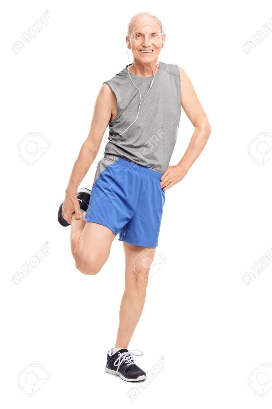 Retrato De Cuerpo Entero De Una Persona Mayor En Ropa De Deportes