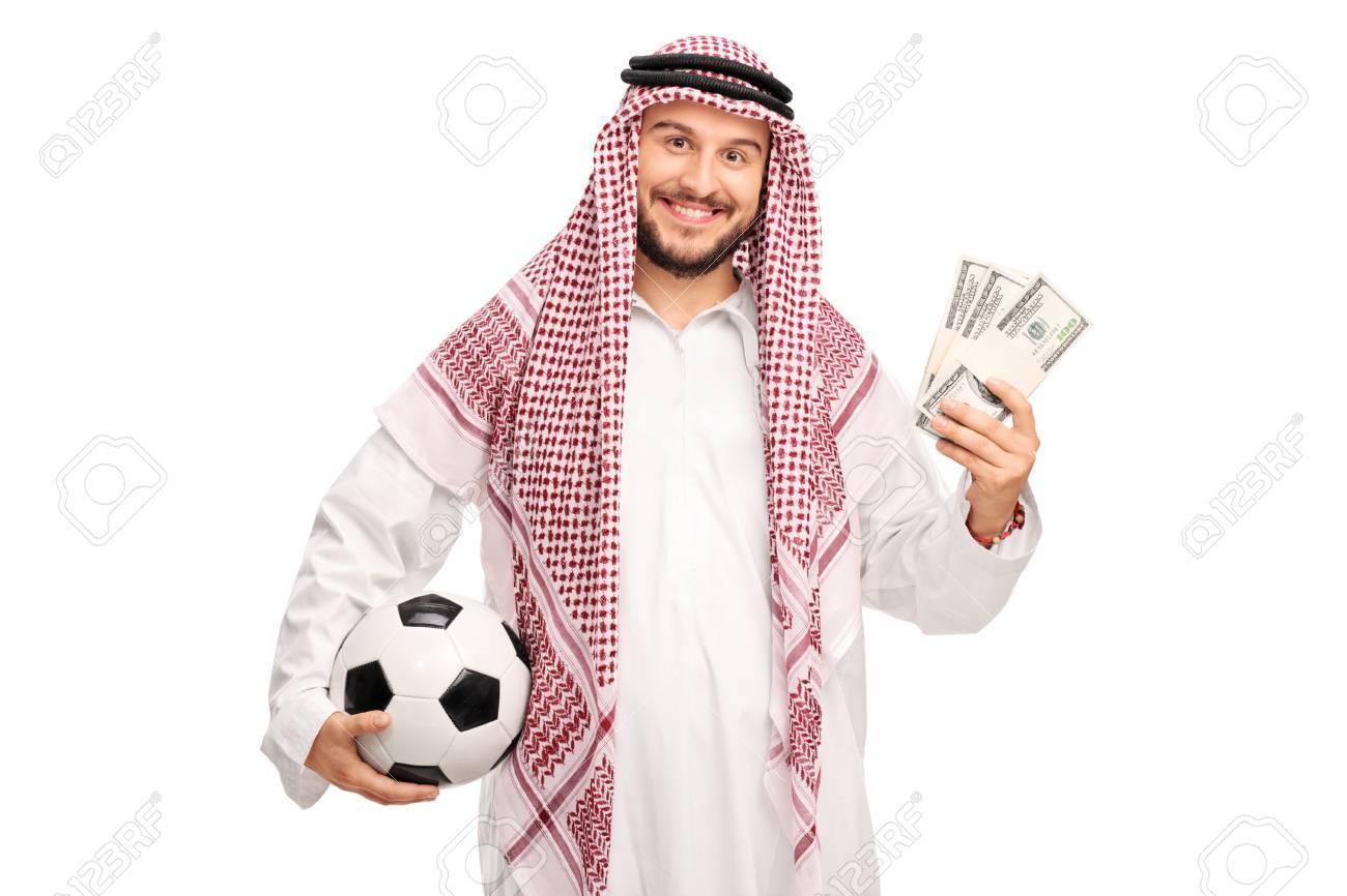 Celebración Alegre Joven árabe Una Pelota De Fútbol Y Algunas Pilas ...