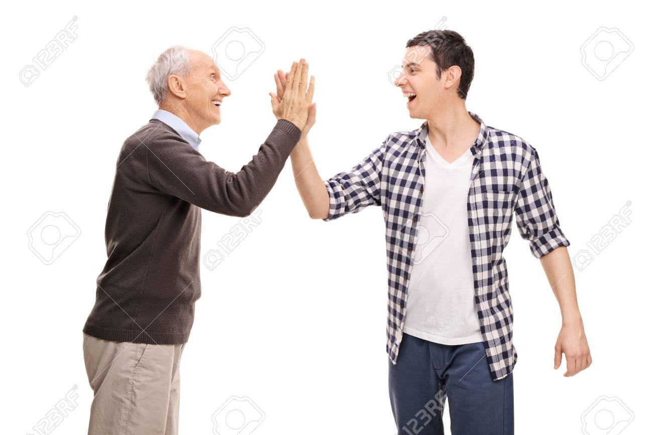 Father and son high five each other isolated on white background father and son high five each other isolated on white background stock photo 52866678 m4hsunfo